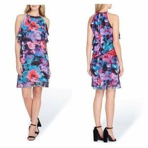 Tahari Floral Chiffon Dress